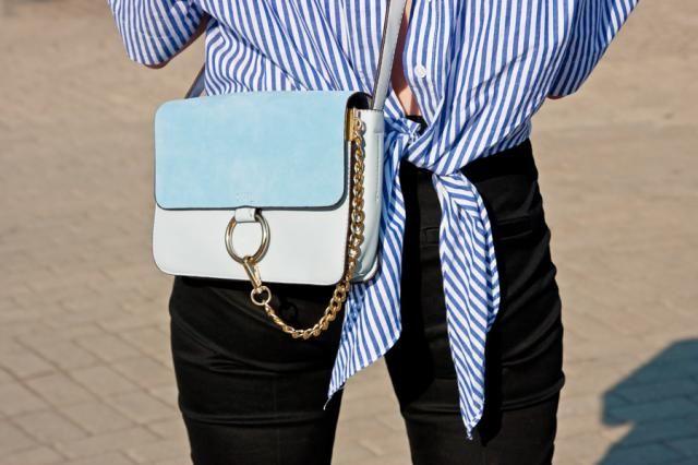 Zaful.com blues - tie-back shirt and light blue bag