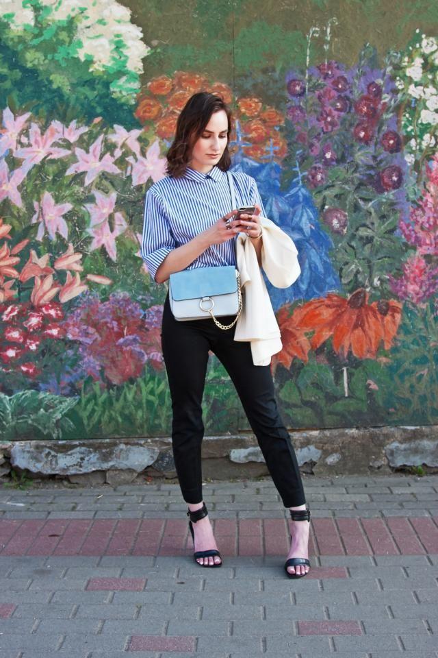 Autumn&;s biggest Zaful.com finds - tie-back shirt and light blue bag