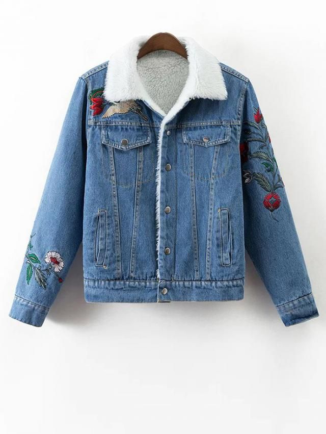 Faux Shearling Floral Embroidered Jean Coat is very stylish, simple but very beautiful