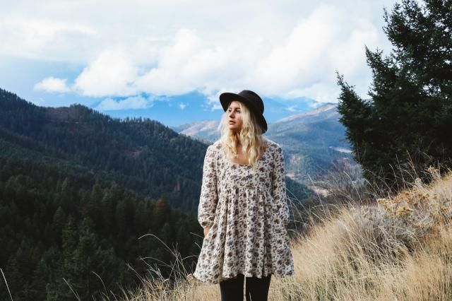 Somedays I drive up far into the mountains, and make sure I&;m wearing my cute dress and hat! xoxo