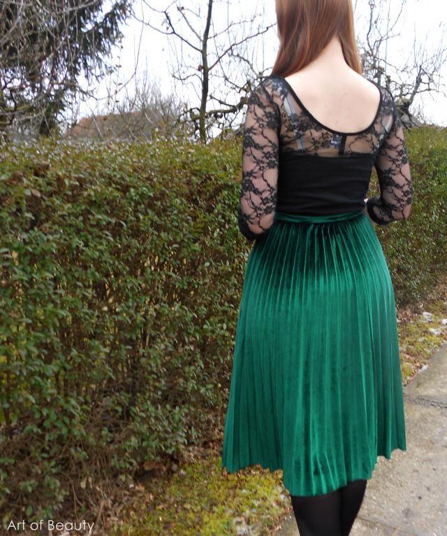 In love in velvet skirt...