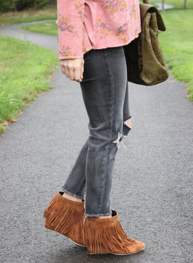 Nothing says boho like fringe. These wedge fringe booties are the perfect way to add boho to any outfit.