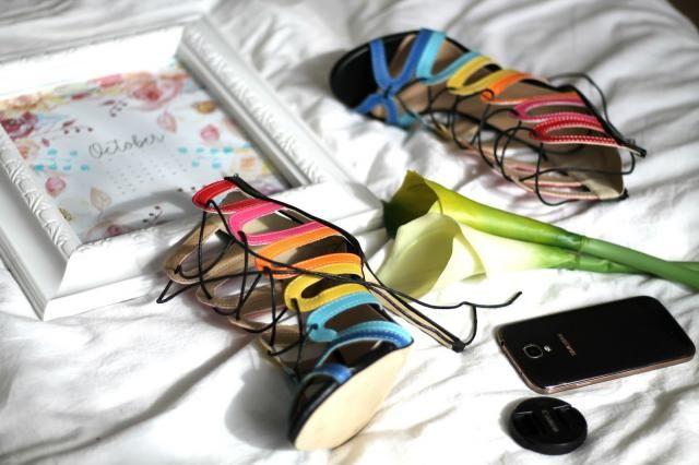 Rainbow shoes.
