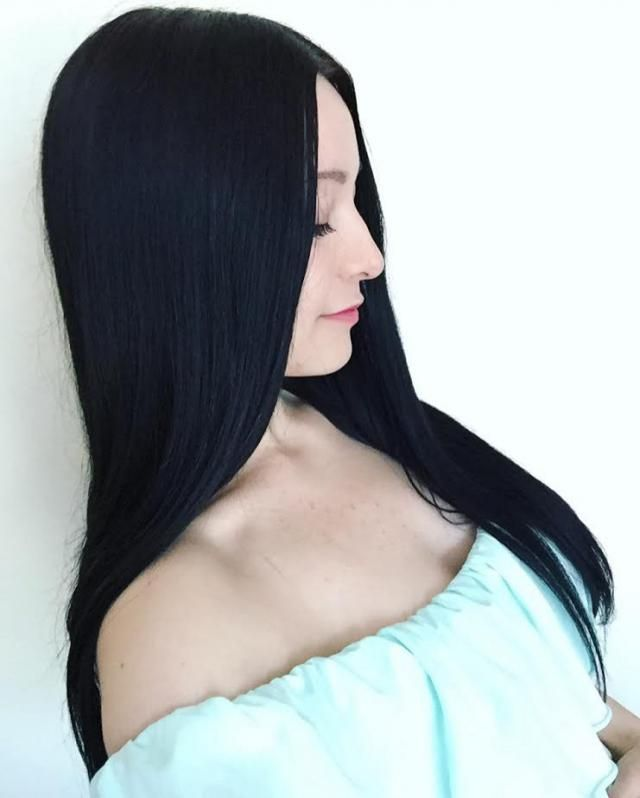 in love with my hair <3 straight and black :)