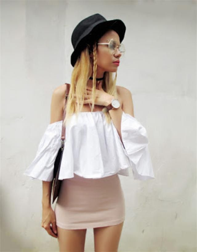 Pink skirt, white offshoulder blouse and brown accesories for today