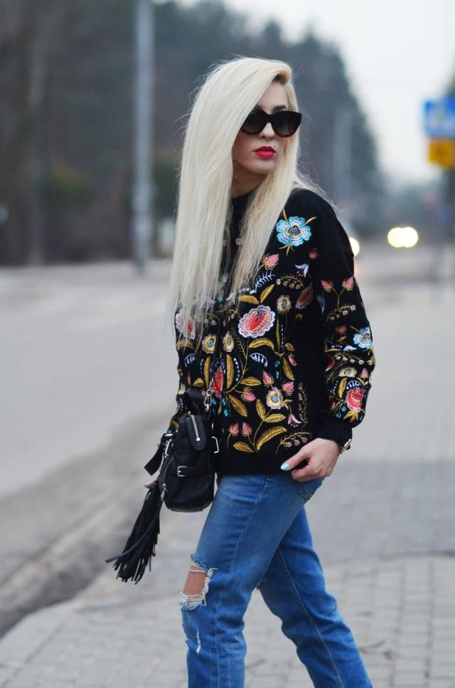 floral sweater form ZAFUL <3   more  inspirations: www.anetaaneta.pl