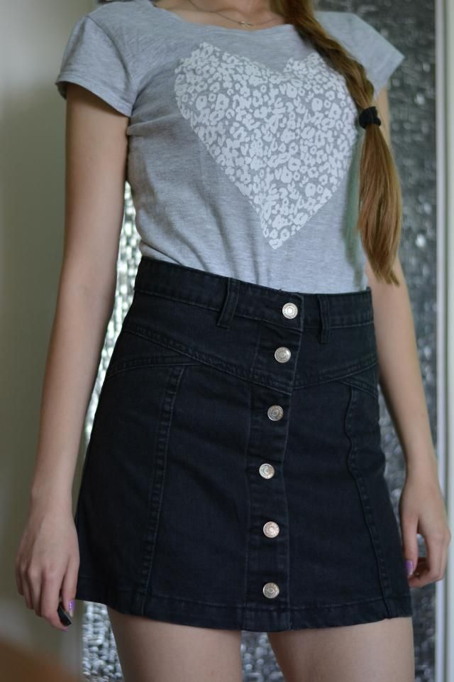 A Line Button Up Denim Skirt BLACK: Skirts L | ZAFUL