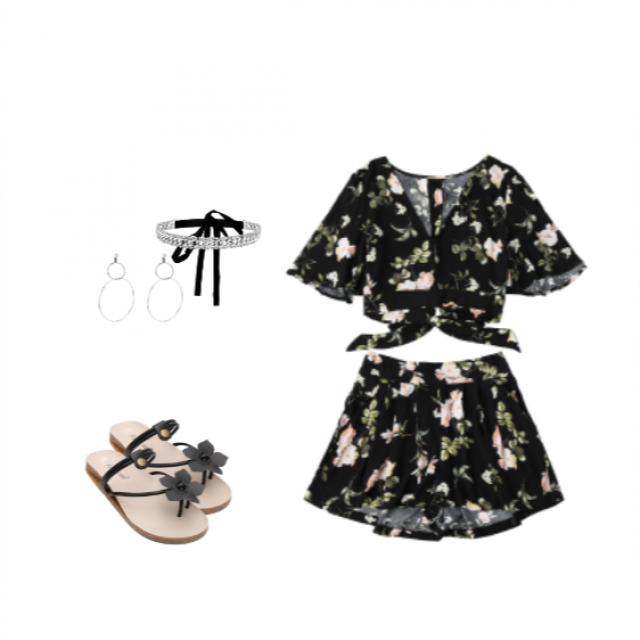 This foral two-piece outfit goes beautifully with these black foral sandals. Add some jewelry and ure good to go Enj…