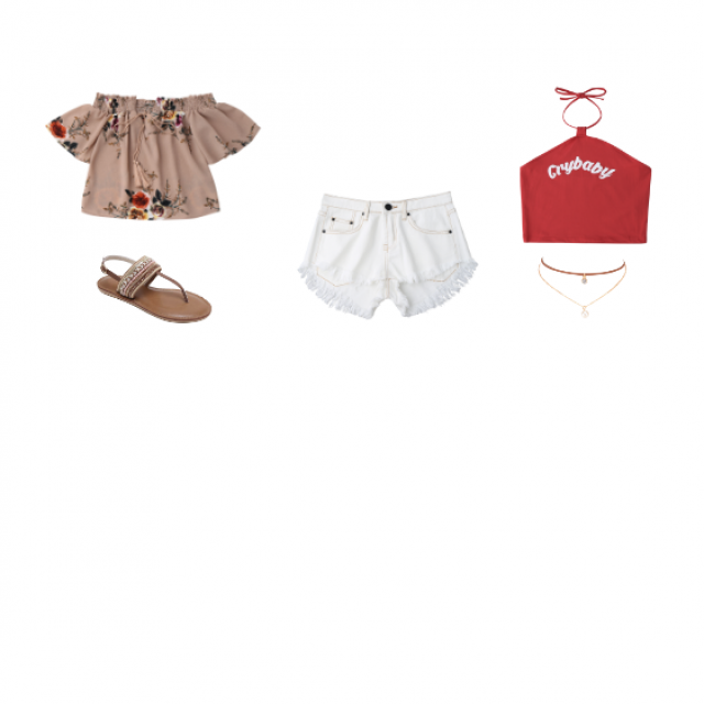 Two very cute summer time outfits. The second one with the red top could be paired with a pair of tennis shoes.
