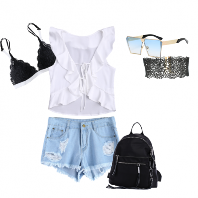 Casual  with  detailing.  Love the backpack for summer , it's so practical !