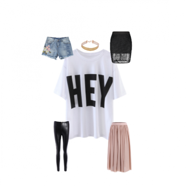 "So many ways to wear this white ""HEY"" graphic tee! Go casual, edgy, or flowy. Whatever way you go, pair it wi…"