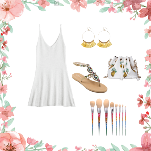 looking hot in white to reflect that tan skin , fresh night with a beautiful dancer dress, your pineapple bag . because…
