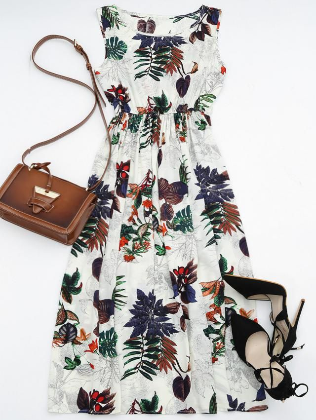 High Waisted Leaf Print Maxi Dress FLORAL: Maxi Dresses M ...