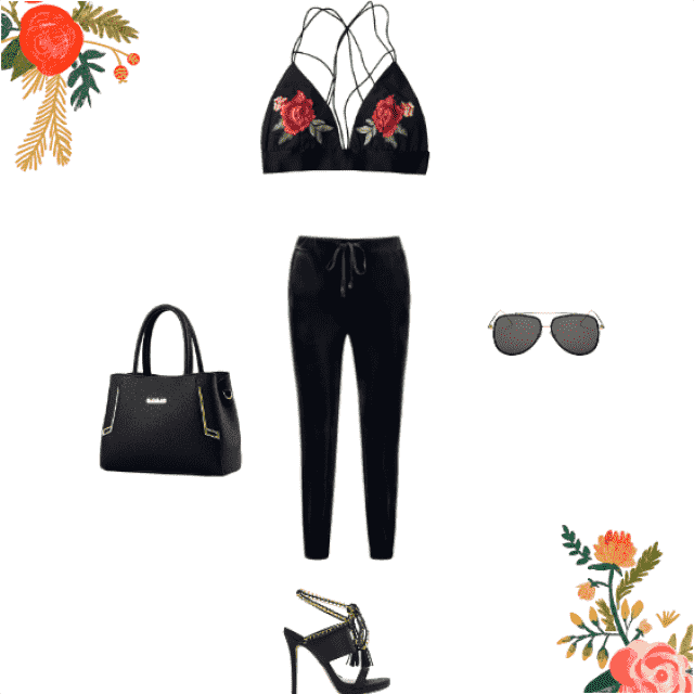 This floral top with roses shows a sexy and sweet side with the simple black accessories not to overpower the flowers. …