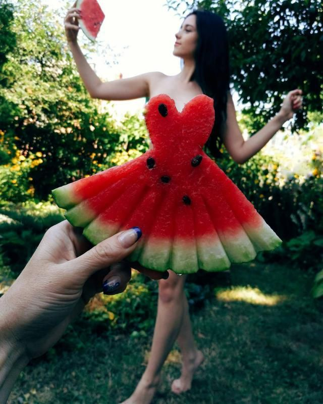 wearing watermelon dress while eating watermelon lol
