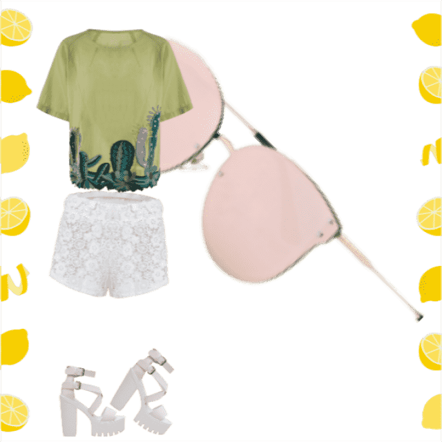 Vibing  with this sun-soaking outfit! Let the white stand back to the airy greens of the fashion tee and the rose of th…