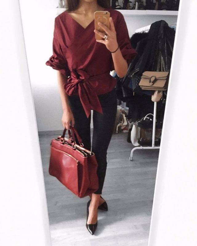 Perfect Burgundy Outfit with amazing blouse from ZAFUL