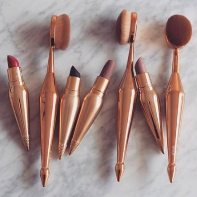 makeup brushes rosegold