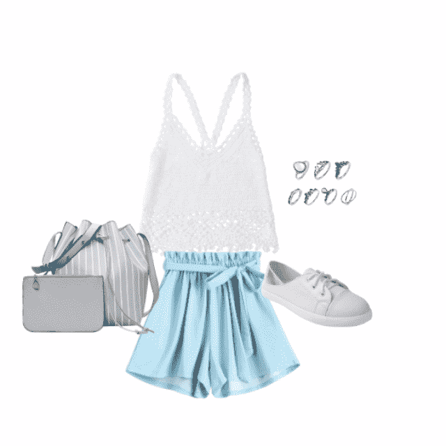 plain white outfit with a pop of blue colouring