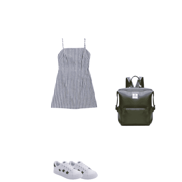 cute checkered dress with cute shoes and matching backpack