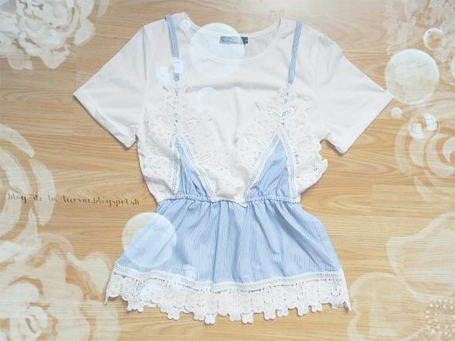 Another piece is a Lace Panel Faux Twin Set Striped Tee which is composed from an ordinary white T-shirt and very prett…