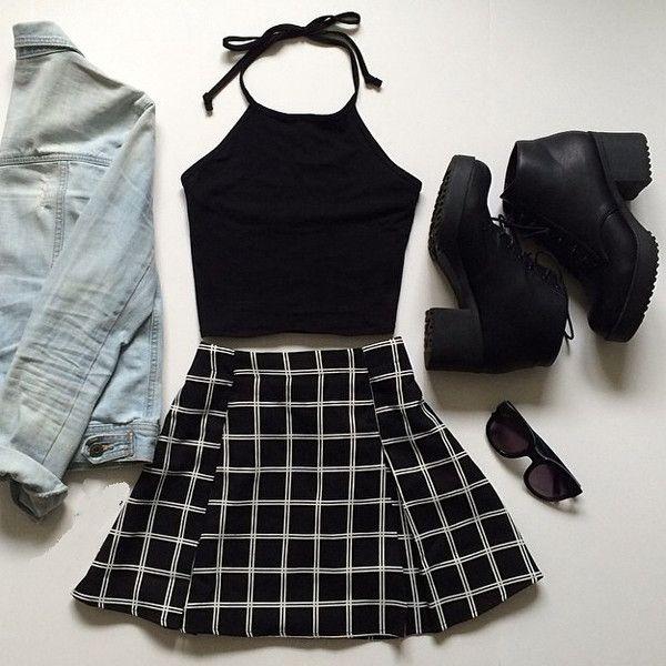 outfit grunge de falda