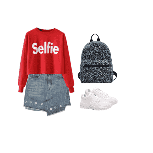 back to school ootd: red selfie top with a denim skirt