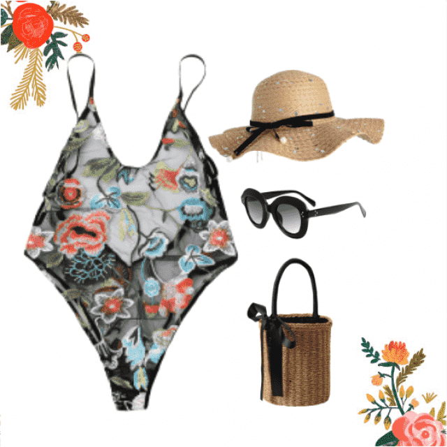 Look elegant and sexy with this floral one piece swimsuit.