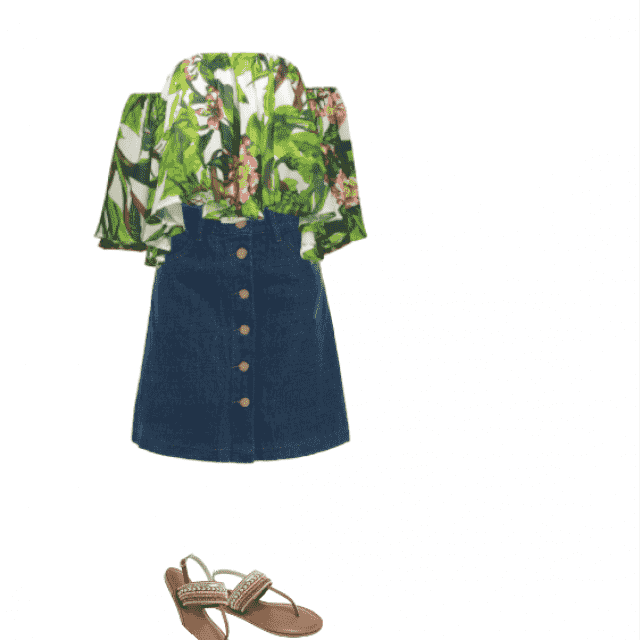 summer ootd:  can't go wrong with off shoulder top and a denim skirt.  great look for cruising or summer vaca…