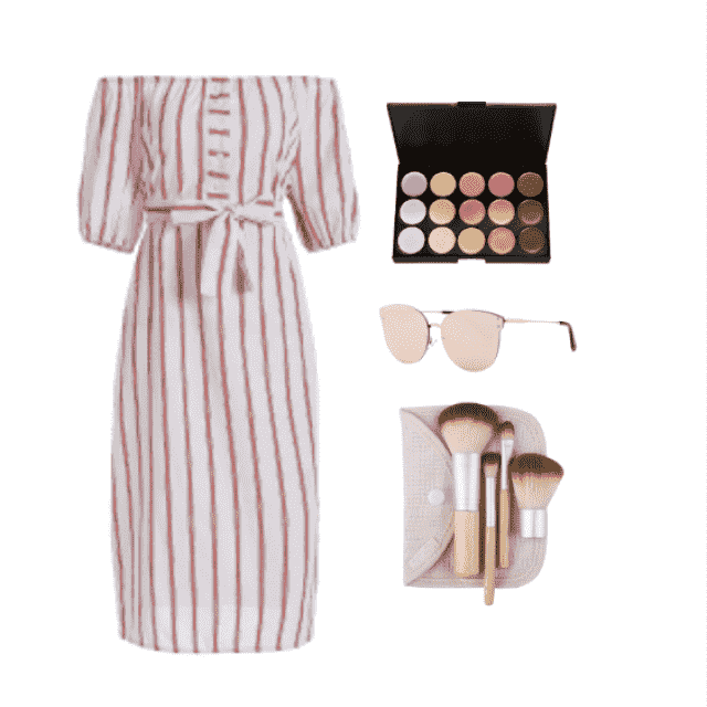 Go casual with a striped off shoulder dress:)