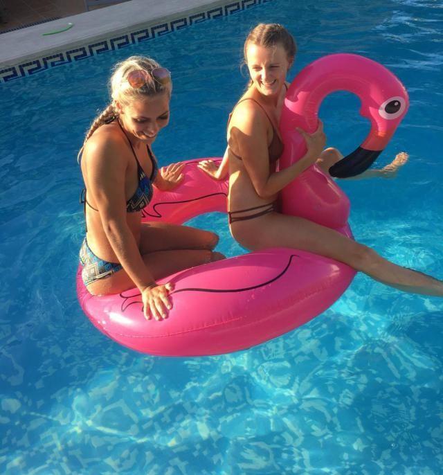 Having a blast in a flamingo float