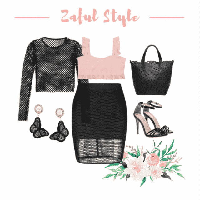 Street Style Casual Fishnet Mini Skirt and Rosy Crop Top