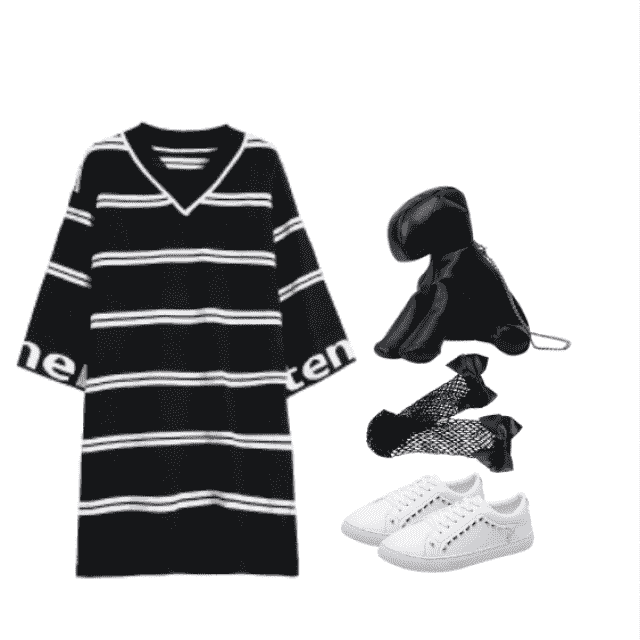 happy labor weekend: outfit featuring drop shoulder striped knitted black dress.. casual and comfort