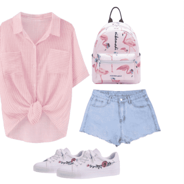 back to school ootd: pink striped shirt, white floral sneakers, denim shorts and a cute backpack.