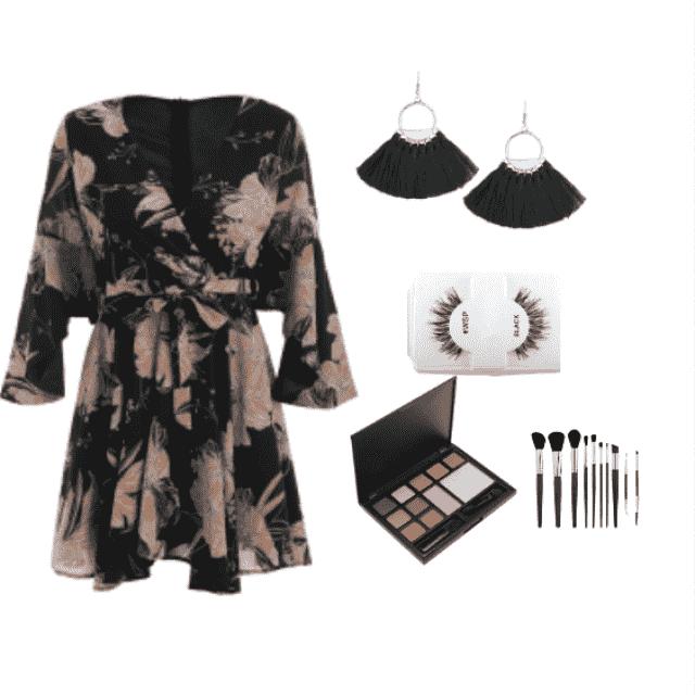 fall dresses: belted flare sleeve floral black dress