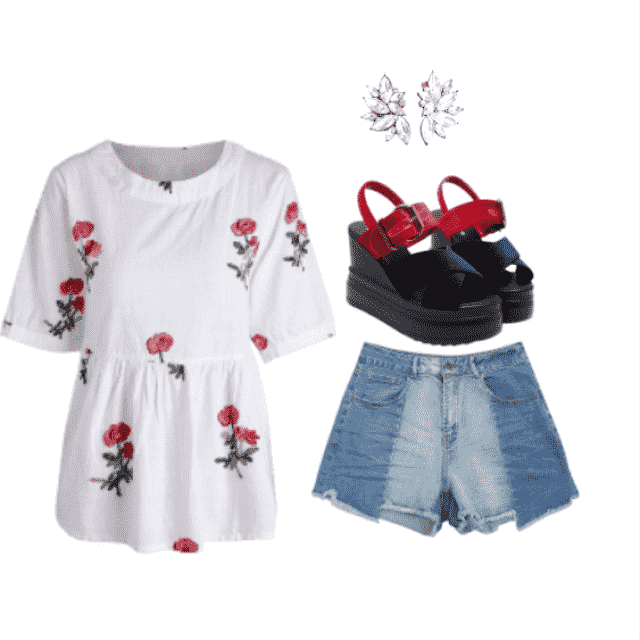 strolling around and feeling casual with this floral emboidered high low blouse paired with denim shorts, ear…