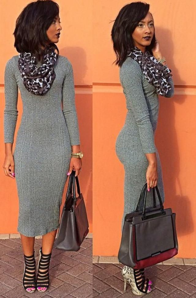 Long Sleeve Lace Up Sweater Bodycon Dress GRAY: Sweater ...