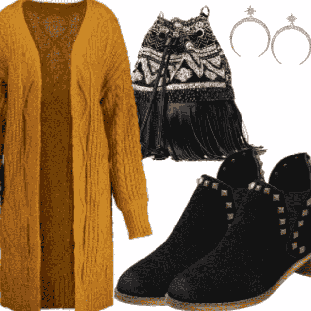 Stylis casual look for cool girl. This year you must-have something yellow in your clothes.