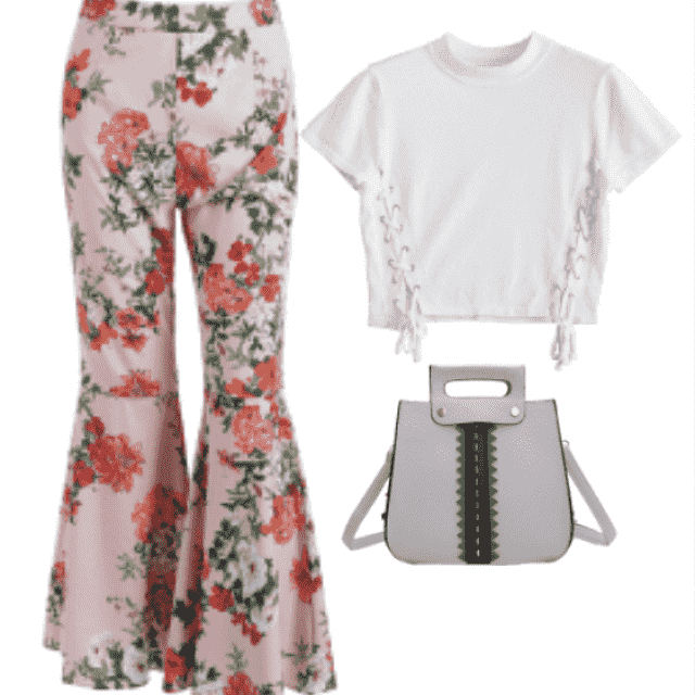 Get Your Party Pants On featuring Floral Bell Bottom Pants. They're so adorable..