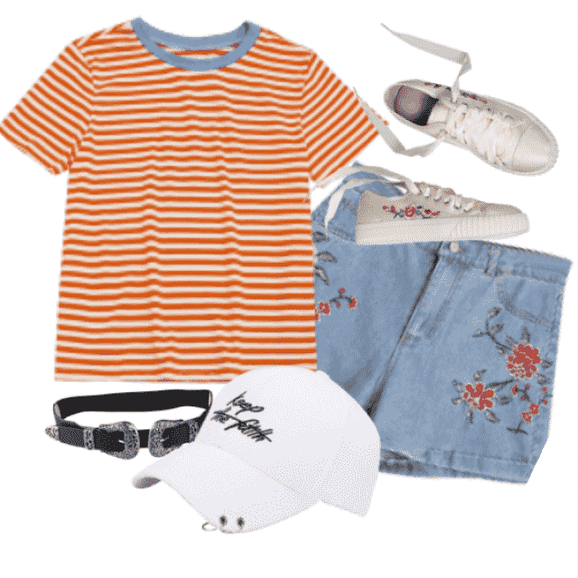 back to school style: casual today with short sleeve stripes t-shirt with floral denim shorts, white sneakers…