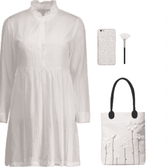 i like how casual this long sleeve ruffle collar shirt dress is. it looks so immaculate