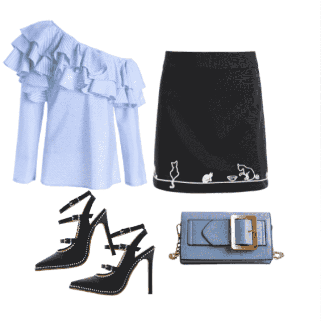 Monday work day feat.: Blue ruffle striped top, black skirt, fave clutch and black heels to complete the out…