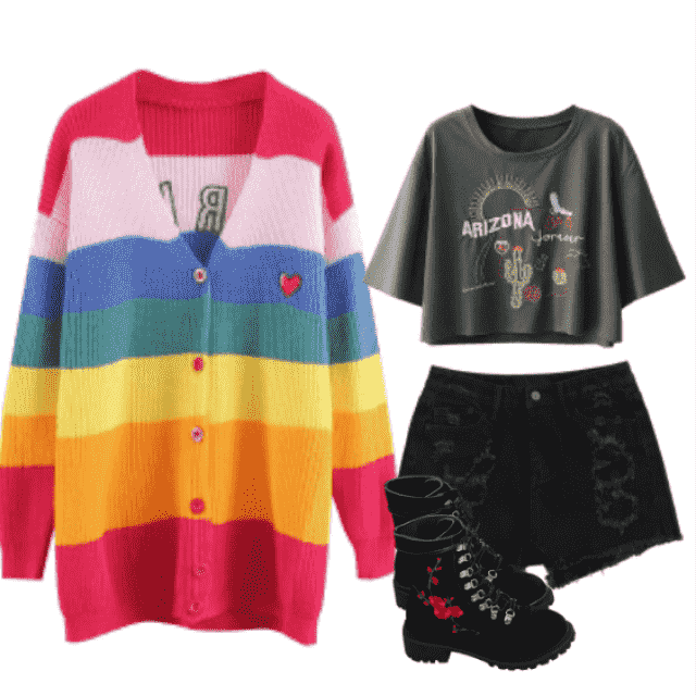 denim  Back to school Monday style: Eye Popping colorful cardigan, printed cropped top, black denim shorts and…