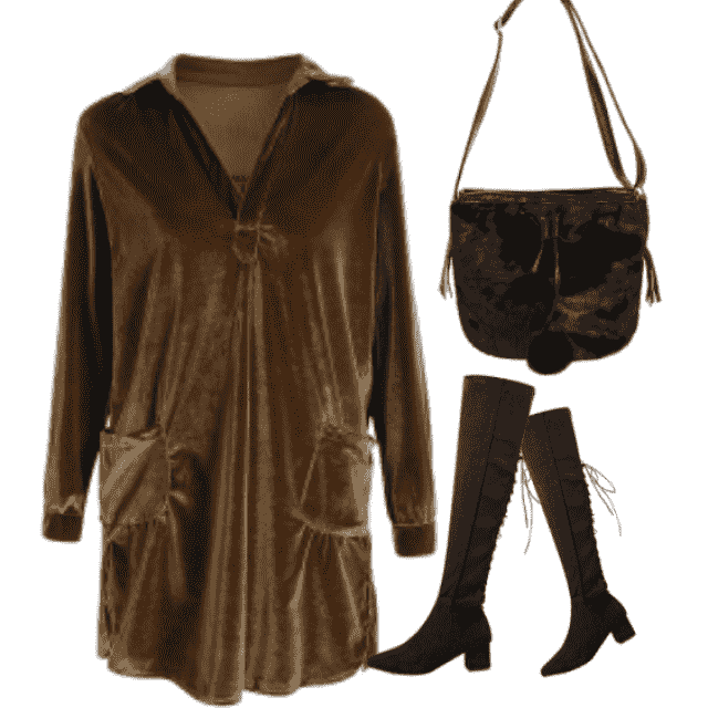must have fall fashion: cozy velvet long sleeve shirt dress. style it with your favorite boots