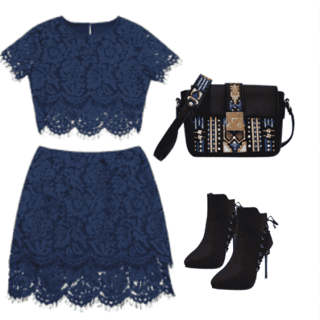 Sunday's ootd: scalloped lace top and skirt set, pair it boots. Fabulous!!!
