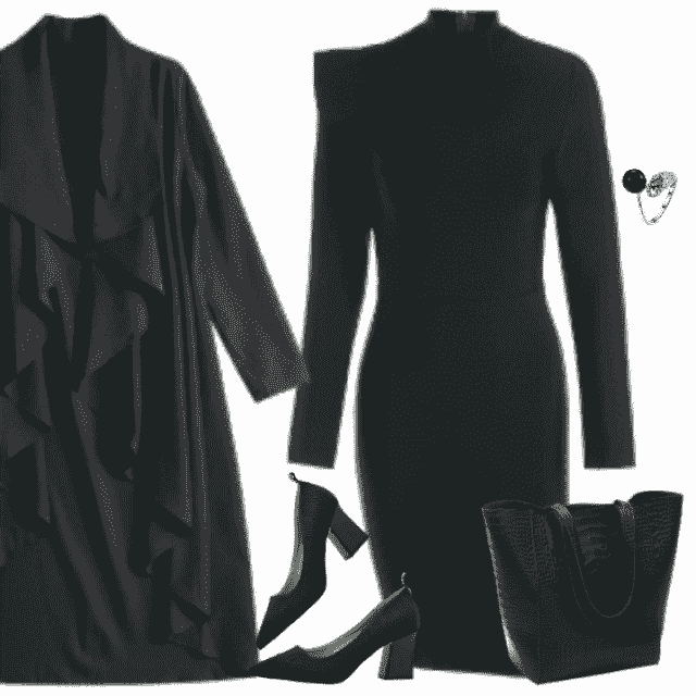 Elegant blakishgreen bowknot dress in combination with long black trench coat and lovely heeled shoes pl…