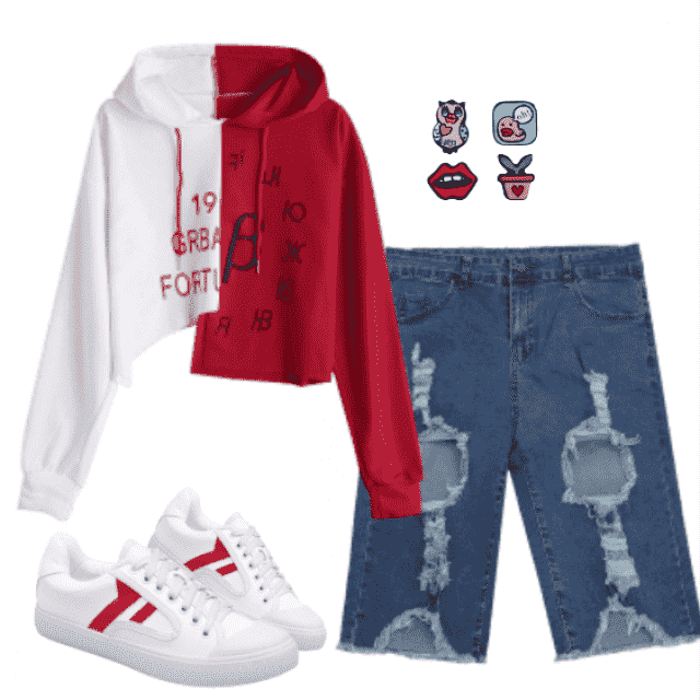 another day in school feat.:  graphic two tone hoodie, denim shorts and white sneakers