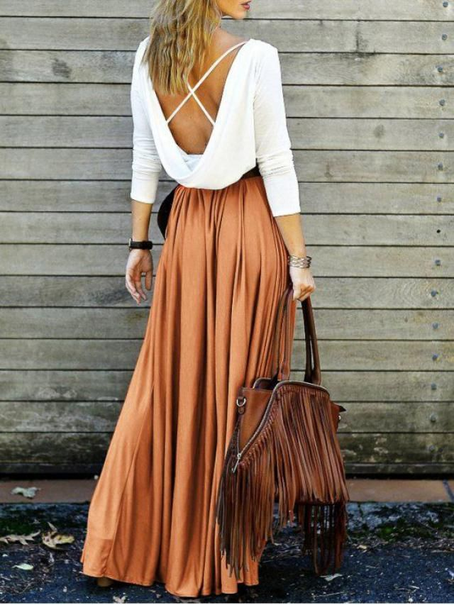 Criss-Cross Maxi Dress - ORANGE# zaful