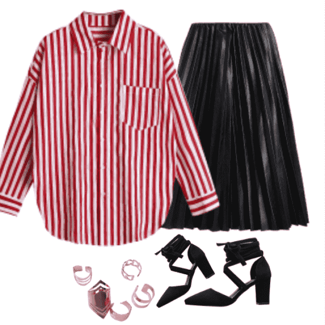 office wear style featuring: button up striped longline shirt, pleated skirt with black sandals.
