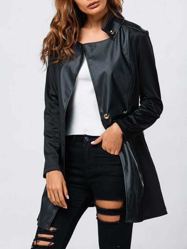 Black leather coat is rigth choice...